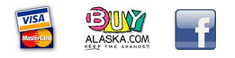 We accept Visa and Mastercard.  We are a member of Buy Alaska.